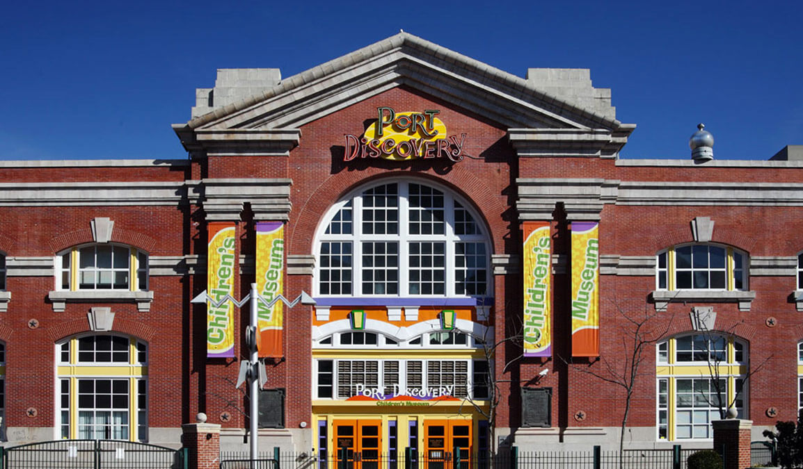 front of port discovery children's museum